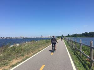 bike path along water in providence