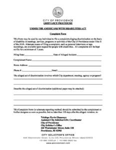 Complaint Form | City Of Providence Ada Grievance Complaint Form City Of Providence