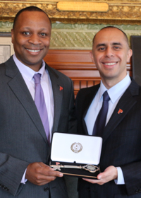 Mayor Jorge Elorza with Michael Stephens