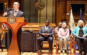 Mayor Jorge O. Elorza  inducts Kobi Dennis, Eugenia Marks and Barbara Thurman into the City's Reverend Dr. Martin Luther King, Jr. Hall of Fame.