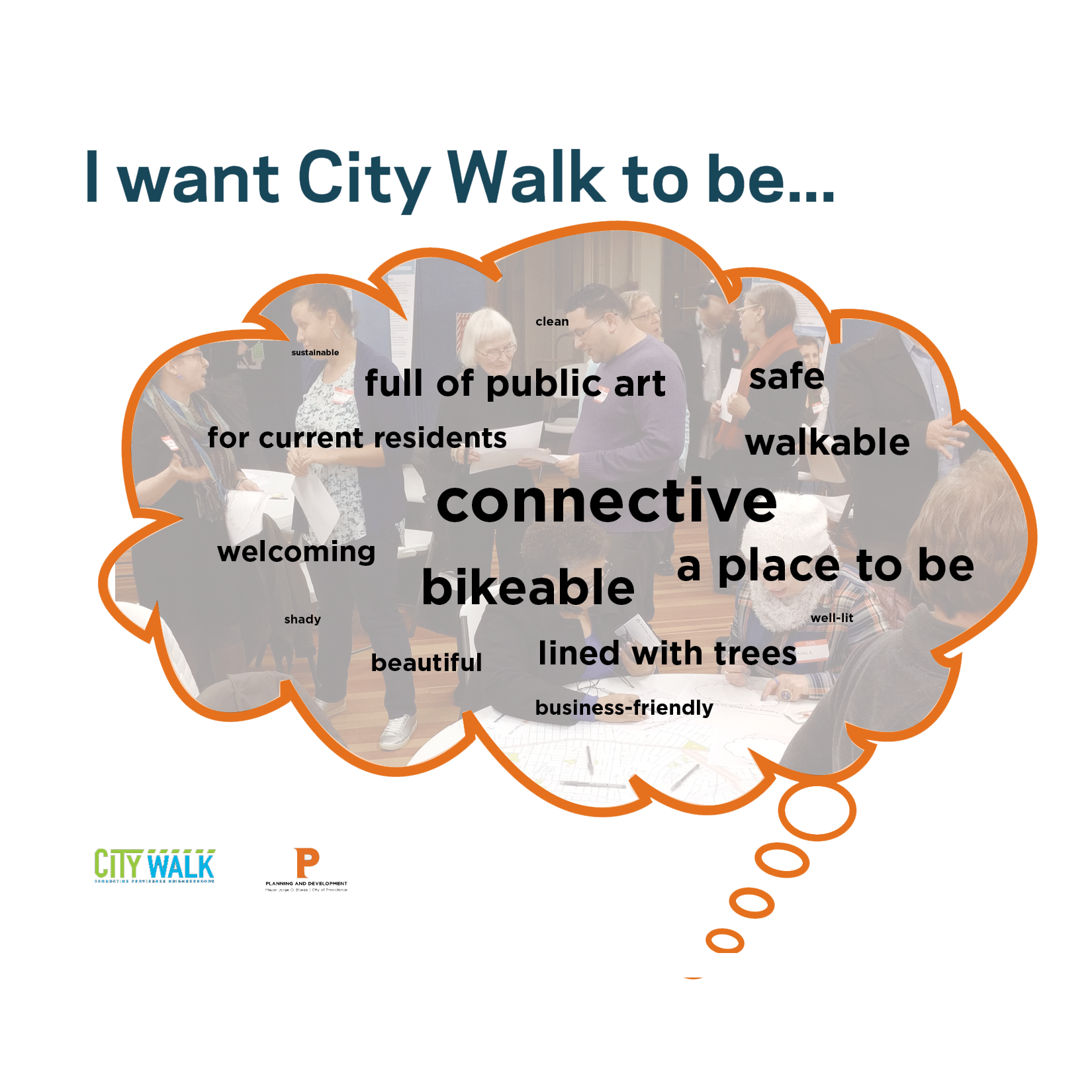 Community members described what City Walk should be in December 2017. These were the most common words.