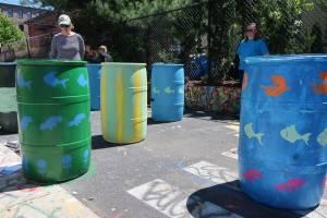 Image: Painted rain barrels